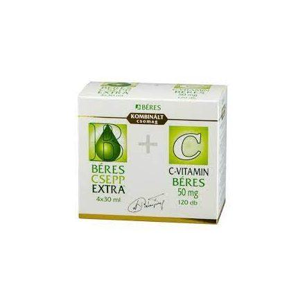 BÉRES CSEPP EXTRA belsőleges oldatos cseppek (4x30ml) + C-VITAMIN BÉRES 50 mg tabletta 120db