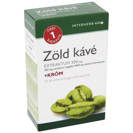 INTERHERB NAPI 1 zöldkávé 300 mg + kröm kapszula 30 db